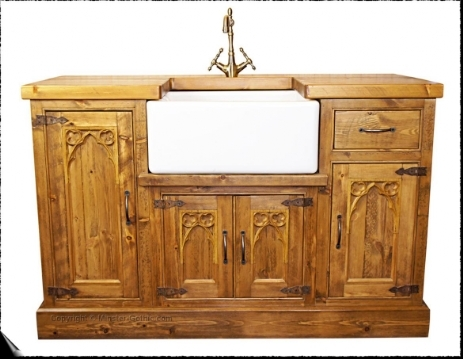 Minster Gothic Rustic Kitchen Belfast Sink Unit.   Click on this photo for a larger image.