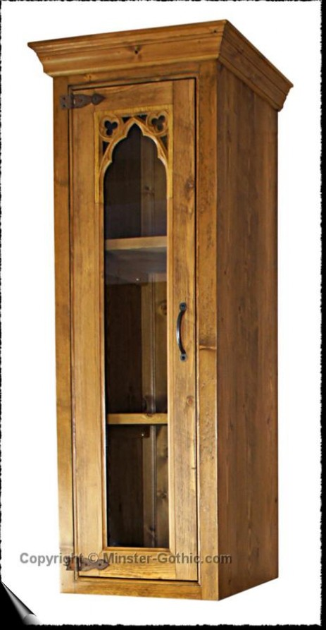 Minster Gothic Rustic 400mm Counter-top Glazed Cupboard. Click on the photo for a larger image.